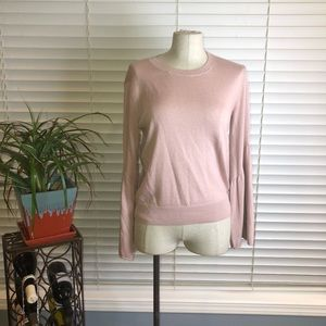 Leith | dusty rose knit sweater with bell sleeves
